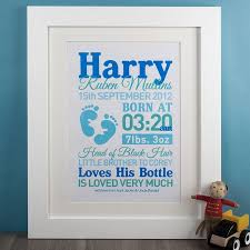 personalize baby gifts personalised baby boy print gettingpersonal co uk