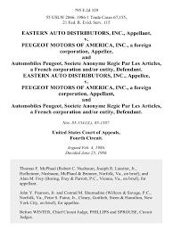 automobiles peugeot eastern auto distributors inc v peugeot motors of america inc