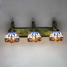 Mermaid Armed Dragonfly Motif Stained Glass Tiffany 3 Light Bathroom 3 Light Bathroom Fixture