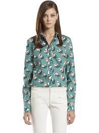 gucci cotton poplin beach umbrella print shirt in green lyst