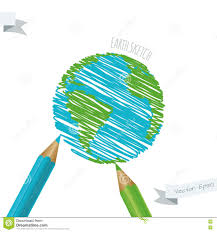 colorful sketch of planet earth and pencils royalty free stock