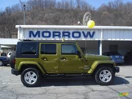 green jeep wrangler unlimited 2007 rescue green metallic jeep wrangler unlimited sahara 4x4