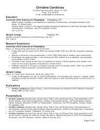 Biology Degree Resume Christine Candelora Resume