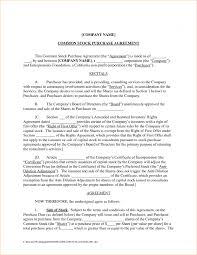 agreement stock purchase agreement form