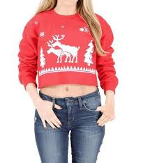 ugly christmas humping reindeer fun women u0027s red crop sweatshirt