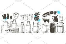 cows and milk hand drawn vector set illustrations creative market