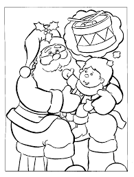 santa claus with baby on christmas day coloring pages christmas
