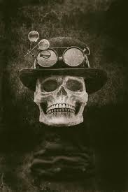 steampunk halloween skull with bowler hat and goggles grunge eff