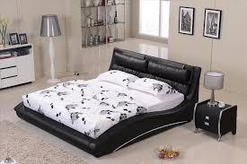 furniture bedroom confortable black leather headrest bed solid