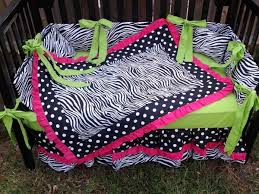 Pink And Green Crib Bedding Pink Lime Green Zebra Polka Dot Crib Bedding Set