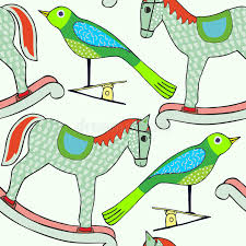 bird wrapping paper bird and rocking illustration christmas theme