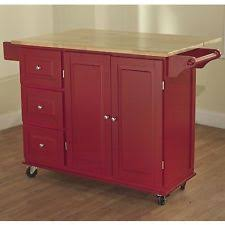 red kitchen cart island microwave cart storage white wood cabinet shelf space saver 4