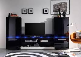 Wohnzimmerschrank Ohne Tv Wohnwand Schwarz Hochglanz Weiss Edelglanz Mit Beleuchtung