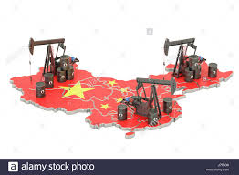 Chinese Map Chinese Map With Oil Barrels And Pumpjacks Oil Production Concept