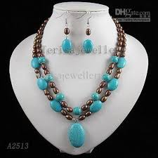 turquoise colored necklace images 2018 2rows blue turquoise brown pearl necklace earring fashion jpg