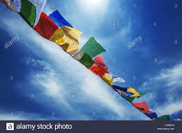 Tibetan Flags Tibetan Flags With Mantra On Sky Background Stock Photo Royalty