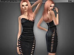 cre8sims u0027 black leather bandage dress