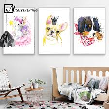 online buy wholesale kawaii bedroom decor from china kawaii kawaii watercolor animail cat dog posters and prints wall art canvas painting wall pictures for children