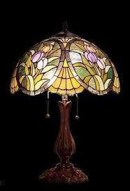 tiffany style pretty in pink floral stained glass table lamp new