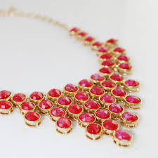 necklace red stone images Oval faceted red stone cascade gold flakes statement bauble necklace jpg