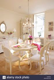 french style dining room white french style chairs and painted oval table in white