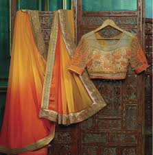 shades of yellow with orange georgette sarees party wear images