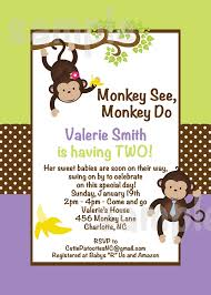 templates cheap monkey baby shower invitations for twins with