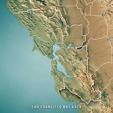 Map San Francisco Bay Area by San Francisco Bay Area Usa 3d Render Topographic Map Border