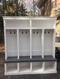 Entryway Locker System Entryway Locker Drop Zone 78x69 Depth 18 White With Red Oak
