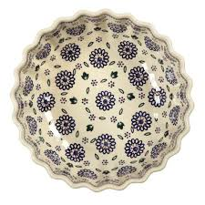 geometric florals large fluted serving bowl tree shops