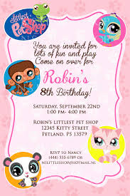 Party Invite Cards Littlest Pet Shop Inspired Birthday Invitation Card Customize