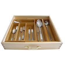 Cutlery Drawer Organizer Lipper International 11 18 75 In Bamboo Expandable Adjustable