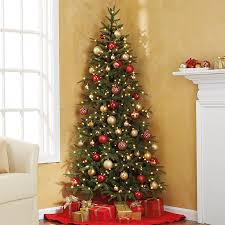 corner christmas tree pre lit fraser fir corner tree at brookstone buy now