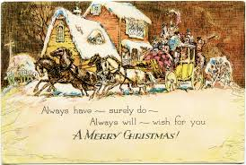 horse carriage christmas card free vintage image