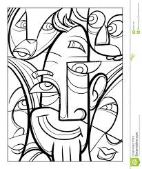 cubist faces fun coloring page stock vector image 87561755