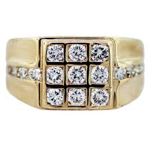 mens gold diamond rings 18k yellow gold diamond square grid mens ring