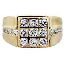 yellow gold diamond rings 18k yellow gold diamond square grid mens ring