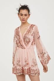 sequined jumpsuit sequined jumpsuit powder pink h m us