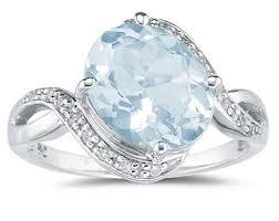 aquamarine diamond ring oval aquamarine diamond curve ring 10k white gold