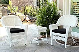 Amazoncom  Jeco Pc White Wicker Chair And End Table Set In - Outdoor white wicker furniture