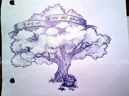 blue tree with banner tattoo design by kayden