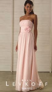 feminine chiffon bill levkoff bridesmaid dress 633 with flower