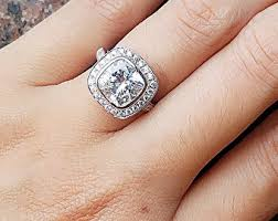 Cushion Cut Halo Diamond Engagement Ring In Platinum Man Made Diamond Engagement U0026 Promise Rings Under By Fairyparadise
