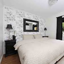 bedroom wallpaper in black white and gray one wall decoration