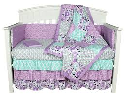 Dahlia Nursery Bedding Set by Zoe Floral Lavender Purple 8 In 1 Crib Bedding Collection Baby
