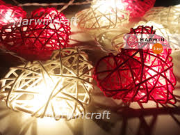 20 35 red white string lights heart rattan fairy lights