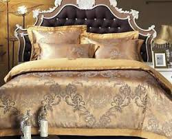 Jacquard Bed Set 100 Cotton Gold King Satin Jacquard Bed Set Duvet Cover