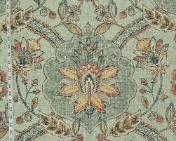 roman floral fresco fabric tree of life rug sea green from brick