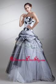 black and white quinceanera dresses white and black strapless appliques and flowers quinceanera dress