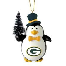 nfl penguin with tree ornament green bay packers
